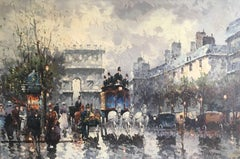 Large Parisian Bustling Boulevard Impressionist Oil Painting