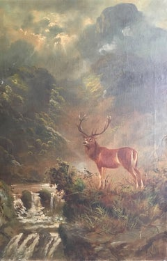 Monarch of the Glen, Highland Stag, Antique Oil Painting