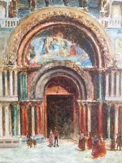 St. Marks, Venice, 1907 Signed Oil Painting