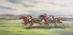 The Horse Race, Signed English Oil Painting