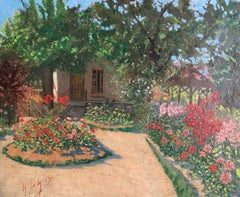 1930's French Impressionist Oil Colourful Garden