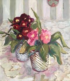 Pink Pansies Original Oil Painting