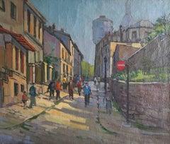 Montmartre Paris, Busy Street, Large Impressionist Oil