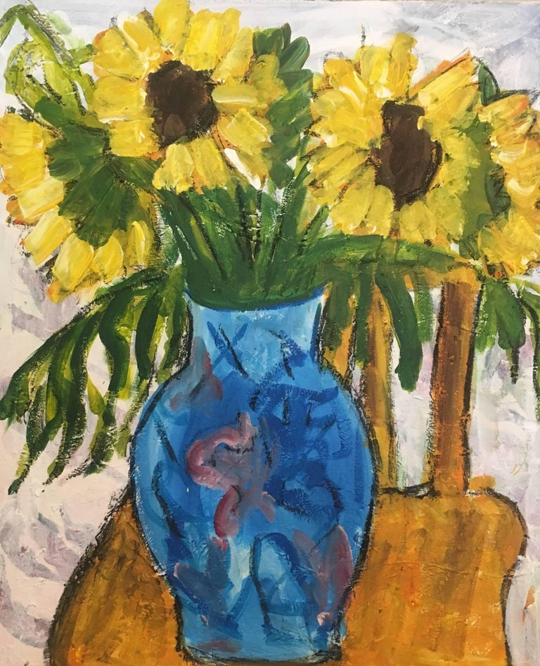 Pamela Cawley Sun Flowers In A Blue Vase Still Life Oil Painting