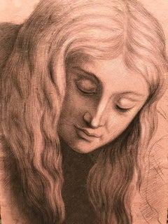 19thC Head Portrait Young Lady Flowing Hair, Realist Drawing