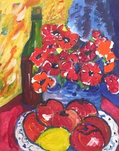 Flowers, Fruit and Wine, Still Life Oil Painting