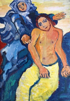 Middle Eastern Couple, Dancing, Impressionist Oil Painting