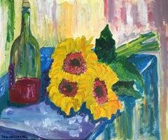 Sunflowers and Red Wine, Still Life, British Artist