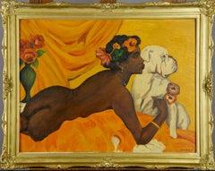 Nu féminin au Chien, Stunning Original Oil Painting