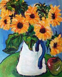 Sunflowers in Enamel Jug Impressionist Oil Painting, Still Life