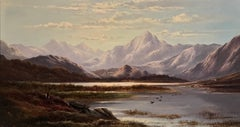 Victorian Scottish Highlands Loch Scene, signed oil painting on canvas