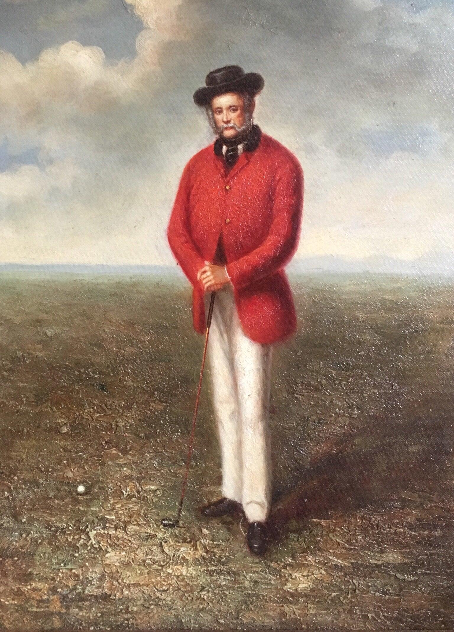 Stylish Golfing Portrait, Oil Painting
