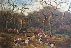 Master of Fox Hounds, British Hunt, Antique Oil Painting