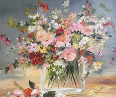 Floral Bouquet, Multi Coloured, Signed Oil Painting
