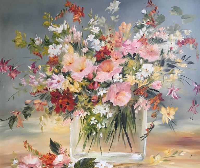 Lillias Blackie - Floral Bouquet, Multi Coloured, Signed Oil ...