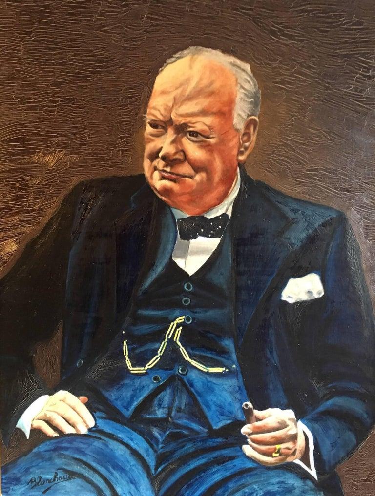 Unknown Portrait Painting - Winston Churchill Large Portrait Oil Painting