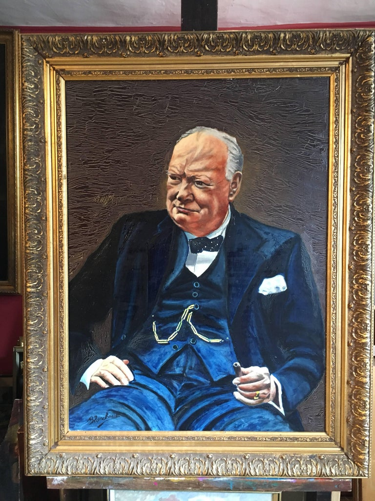 Winston Churchill Large Portrait Oil Painting  - Black Portrait Painting by Unknown