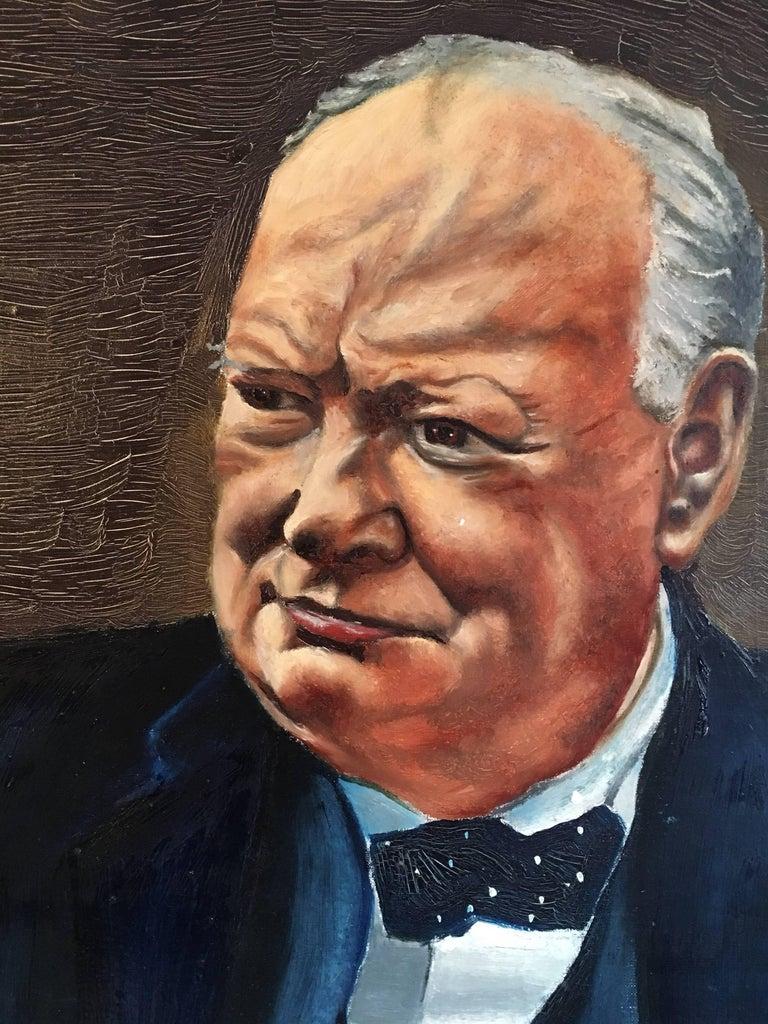 Winston Churchill Large Portrait Oil Painting  For Sale 1