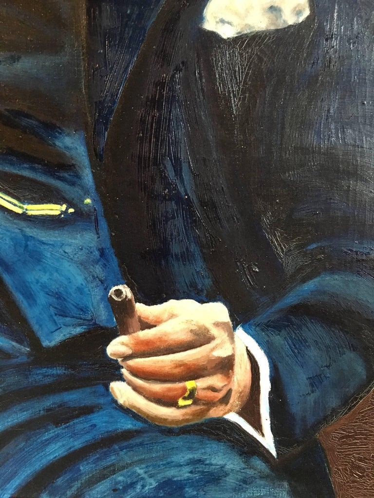 Winston Churchill Large Portrait Oil Painting  For Sale 2