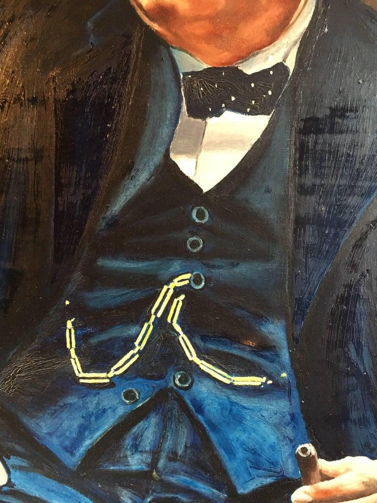 Winston Churchill Large Portrait Oil Painting  For Sale 3