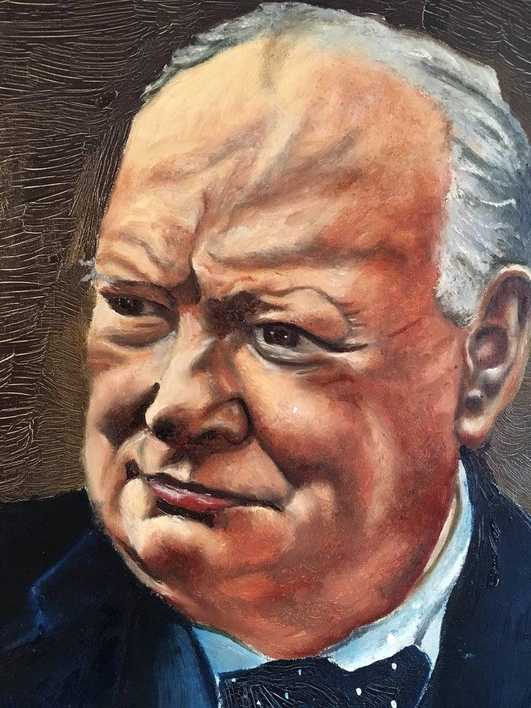Winston Churchill Large Portrait Oil Painting  For Sale 5