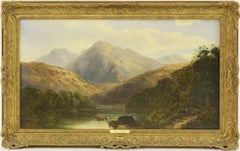 Highland Landscape Cattle Watering by the Loch, Victorian Oil Painting