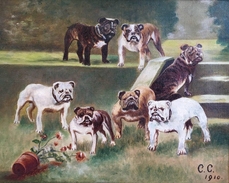 British Bulldogs, Canine Oil Painting, Dated '1910'