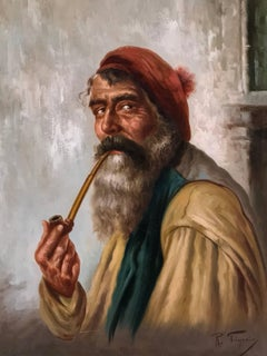 Italian Pipe Smoker, Signed Antique oil painting on canvas