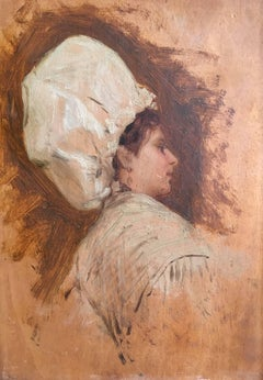 19thC Portrait of a Cook in White Hat, Oil Painting