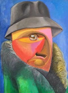 Large Surrealist Portrait, Multi Coloured Oil Painting