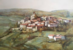 Large Impressionist Provencal Hilltop Town, Oil Painting, Signed