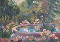 Impressionist French Garden Landscape, Oil Painting