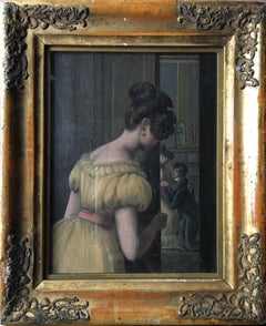'Caught in the Act', Antique British Oil Painting