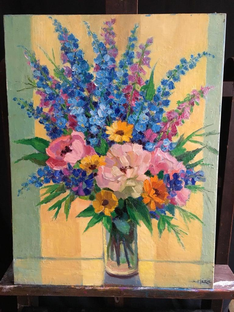 Suzette Mezie - Brimming Bouquet of Flowers, French Oil Painting ...