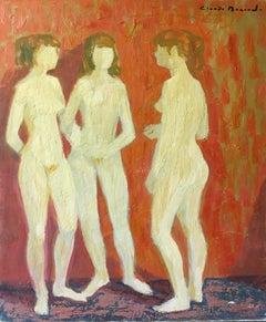 Impressionist Nudes, Three Figures, Oil Painting