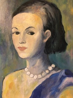 The Lady in Blue, Impressionist Portrait Oil Painting