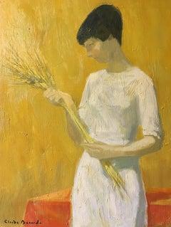 'La Jeune Fille Aux Epis' Impressionist Portrait, Signed Oil Painting