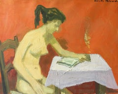 Impressionist Nude Model Sat Reading, Signed Oil Painting