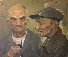 Old Workers Enjoying a Drink, Double Sided Impressionist Oil Paintiing