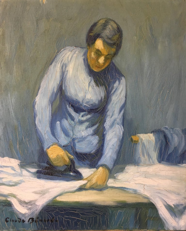 The Housewife in Blue, Impressionist Signed Oil Painting