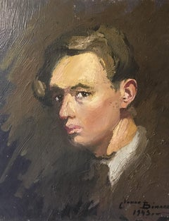 Impressionist Portrait of a Young Frenchman, 1940s, Oil Painting