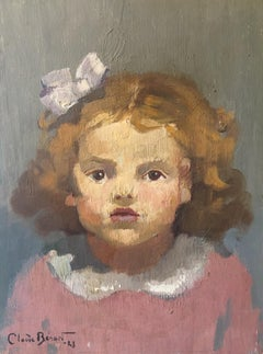 Little Girl in Pink, Impressionist Portrait, Signed Oil Painting