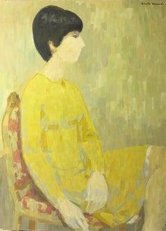 Stylish Large Impressionist Portrait, Signed Oil Painting