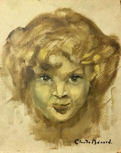 Mischievous Child, Impressionist Portrait, Signed Oil Painting