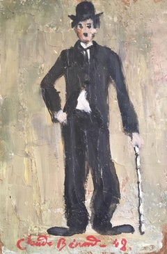 Charlie Chaplin, Impressionist Portrait, Signed Oil Painting