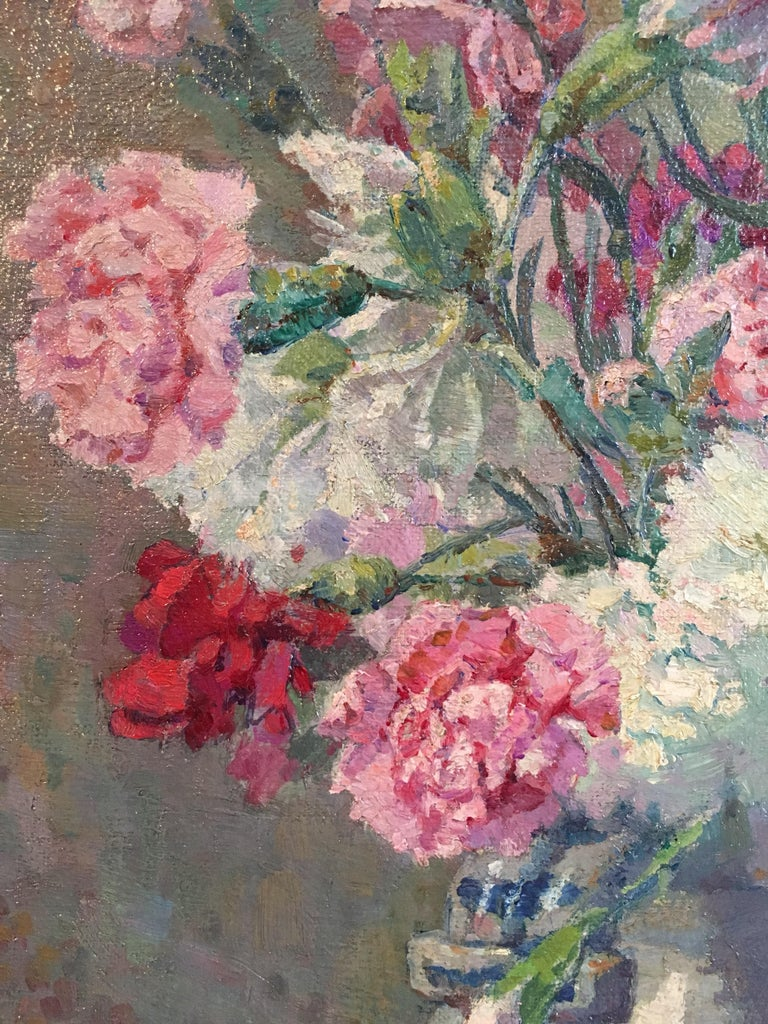 Louis thomson carnations bouquet of flowers floral oil painting carnations bouquet of flowers floral oil painting signed for sale 2 izmirmasajfo