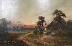 Impressionist Landscape, Dilapidated Farmhouse, Signed