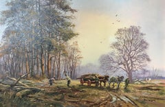 Horse and Cart, Large Impressionist Landscape English Countryside, Signed Oil