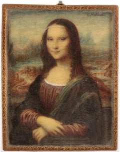 The Mona Lisa, Fine Florentine Miniature Portrait after Leonardo da Vinci's work