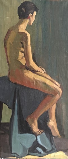 Large Nude Portrait, Female Model, Oil Painting